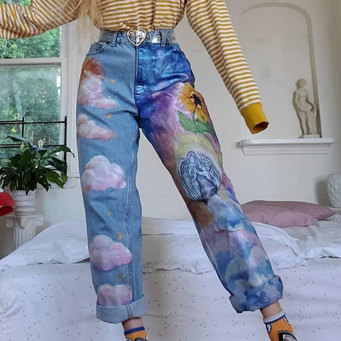 Modern colorblock printed pocket jeans RS123