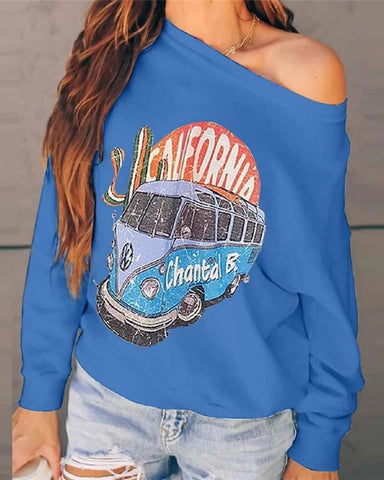 Round Neck Long Sleeve Printed Sweatshirt