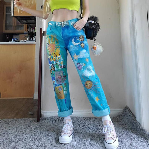 Women's fashion loose print loose jeans RS123