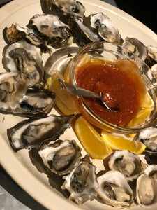 Miyagi Oysters Served with Cucumber Mignonette Sauce