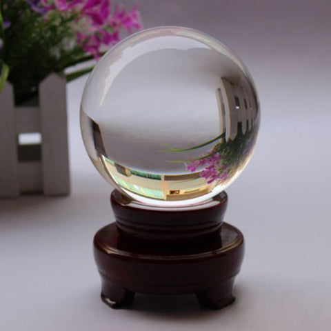 Amlong Crystal New Clear Crystal Ball Sphere Asian Quartz + Free Wooden Stand