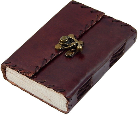 3x4 Genuine Leather Blank Journal with Brass Latch