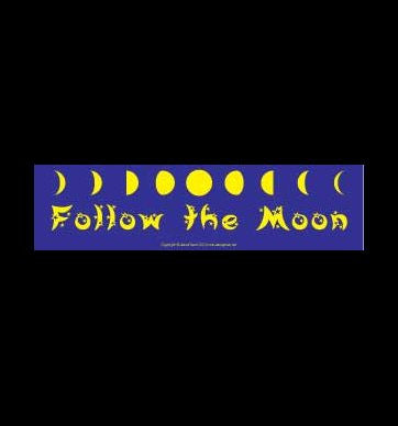 """Follow the Moon"" Yellow on Purple Bumper Sticker 11.5"" x 3"""