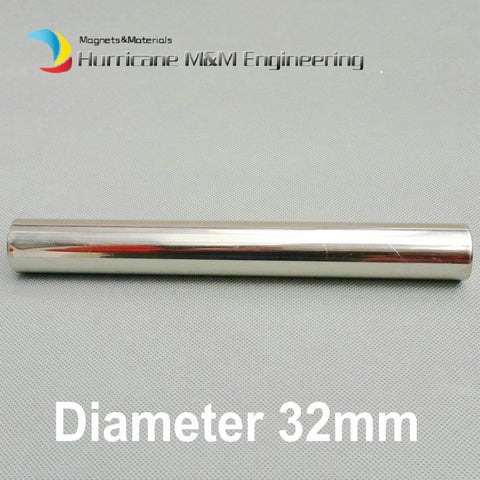 NdFeB Magnetic Wand Dia. 32x500 mm about 1.26'' x 19.68'' 6K-12K GS Cylinder Filter Strong Neodymium Magnet Stainless Steel 304