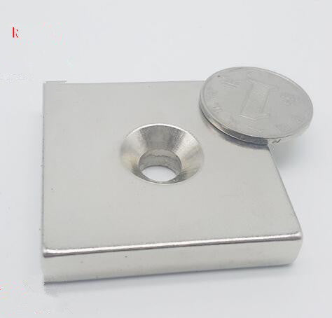 1PCS NdFeB Fix Magnet 50x50x10 mm Hole: 9mm with M9 Screw Countersunk Hole Block Neodymium Rare Earth Permanent Magnet