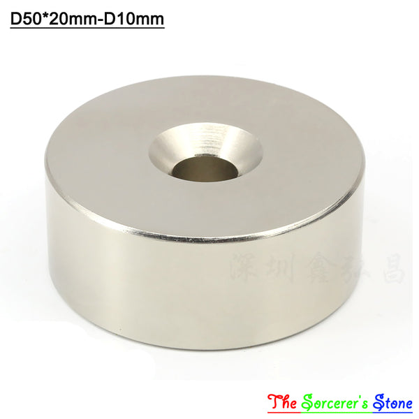 2pcs Super Strong Dia 50x20mm With hole 10mm Rare Earth Neodymium Disc Magnet  N52 Free Shipping