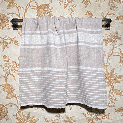 Stone Washed Hand Towel Khaki Stripe Varied