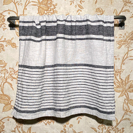 Stone Washed Hand Towel Black Stripe Varied