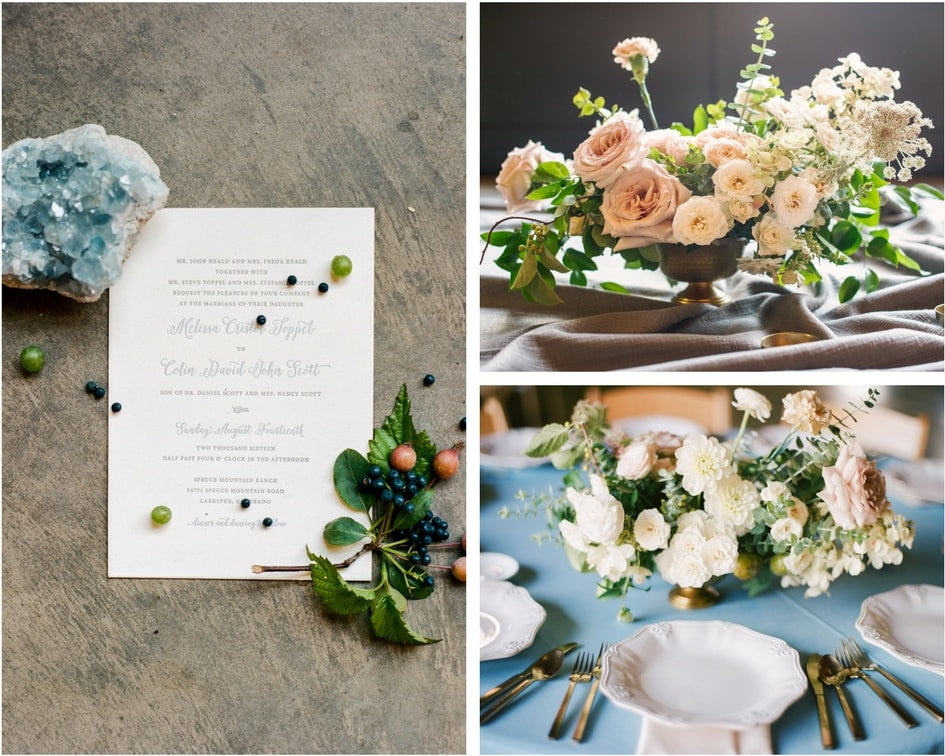 wedding invitation and wedding flowers