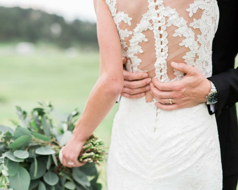 detailed back of wedding gown
