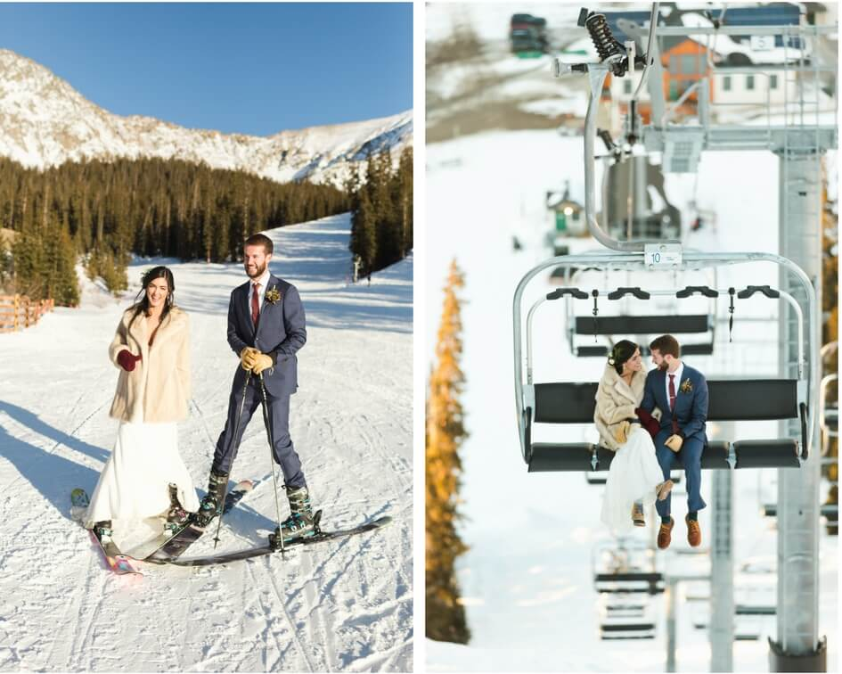 winter wedding with skis