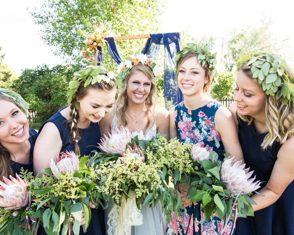 boho bride with bridesmaids