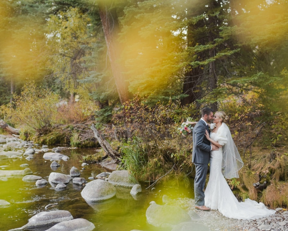 Vail mountain fall wedding with kelly faetanini lace wedding gown