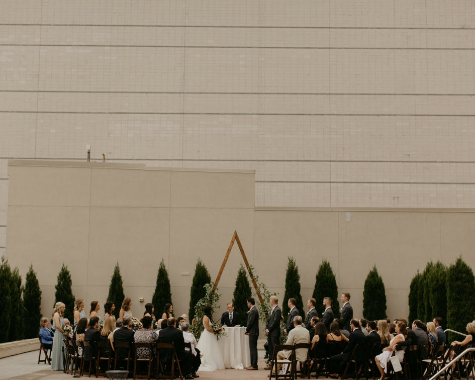 rooftop downtown wedding ceremony