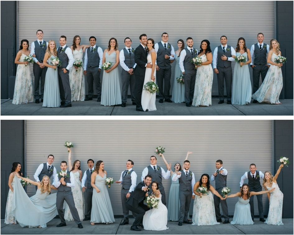 Seattle wedding party with grey and blue bridesmaids dresses