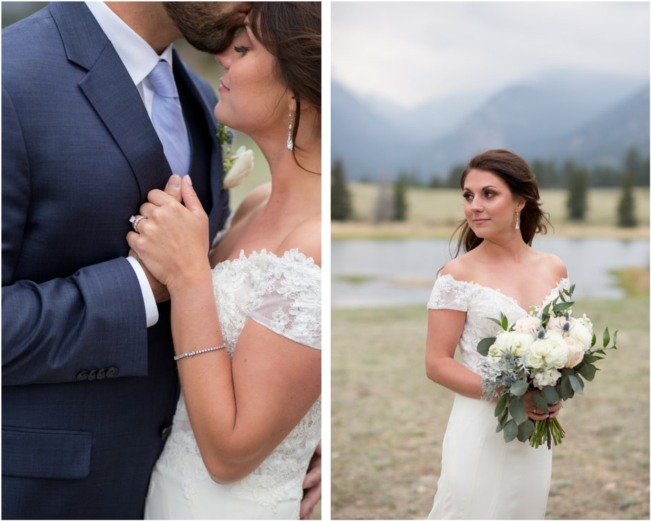 colorado bride and groom with off the shoulder lace bridal gown