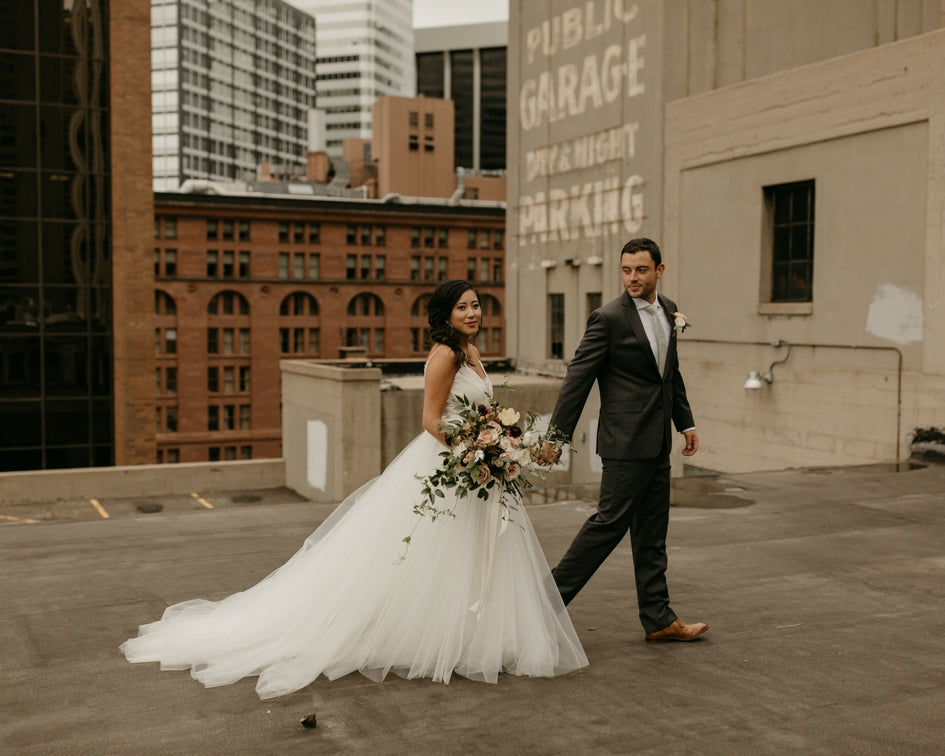 downtown rooftop bride and groom