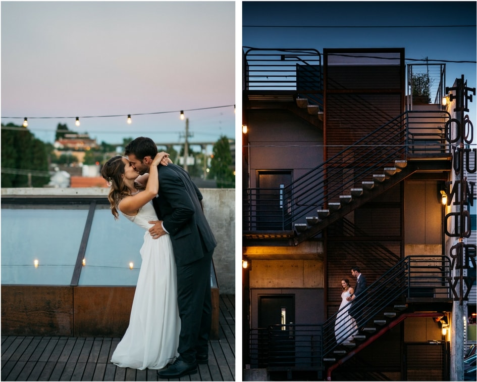 sunset portraits from Seattle Washington wedding