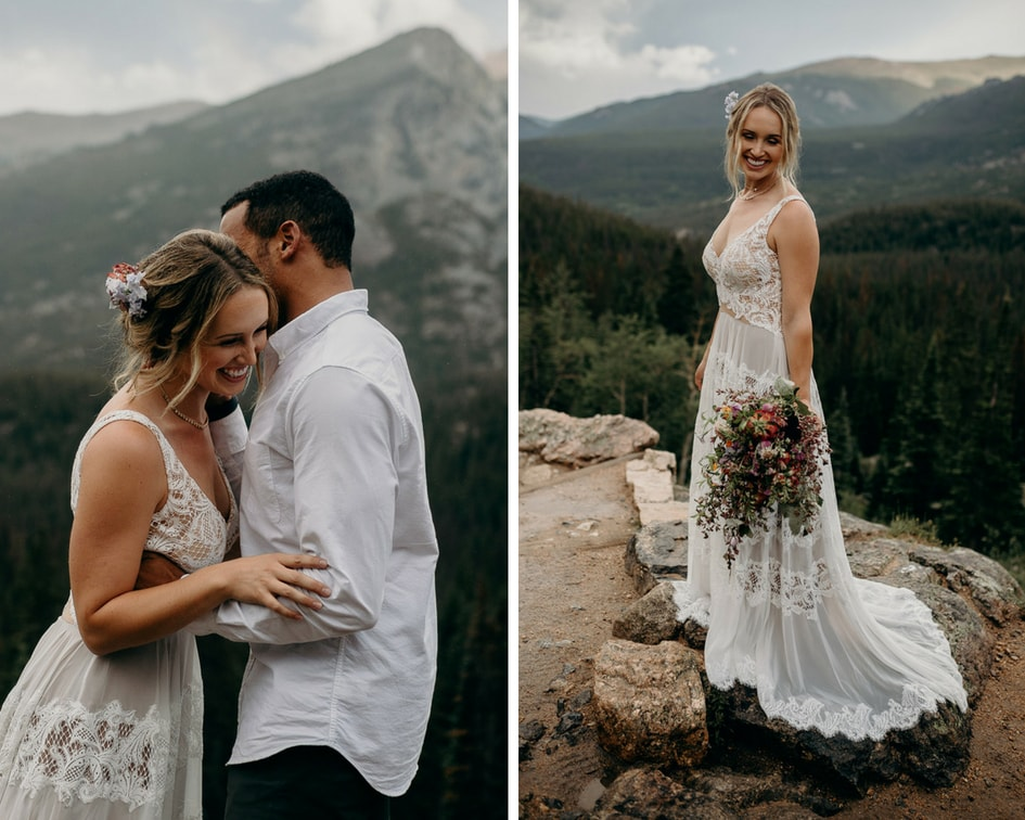 colorado mountain vow renewal  with lace dress