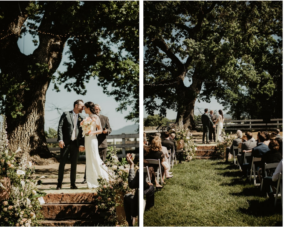 central coast California wedding under oak trees