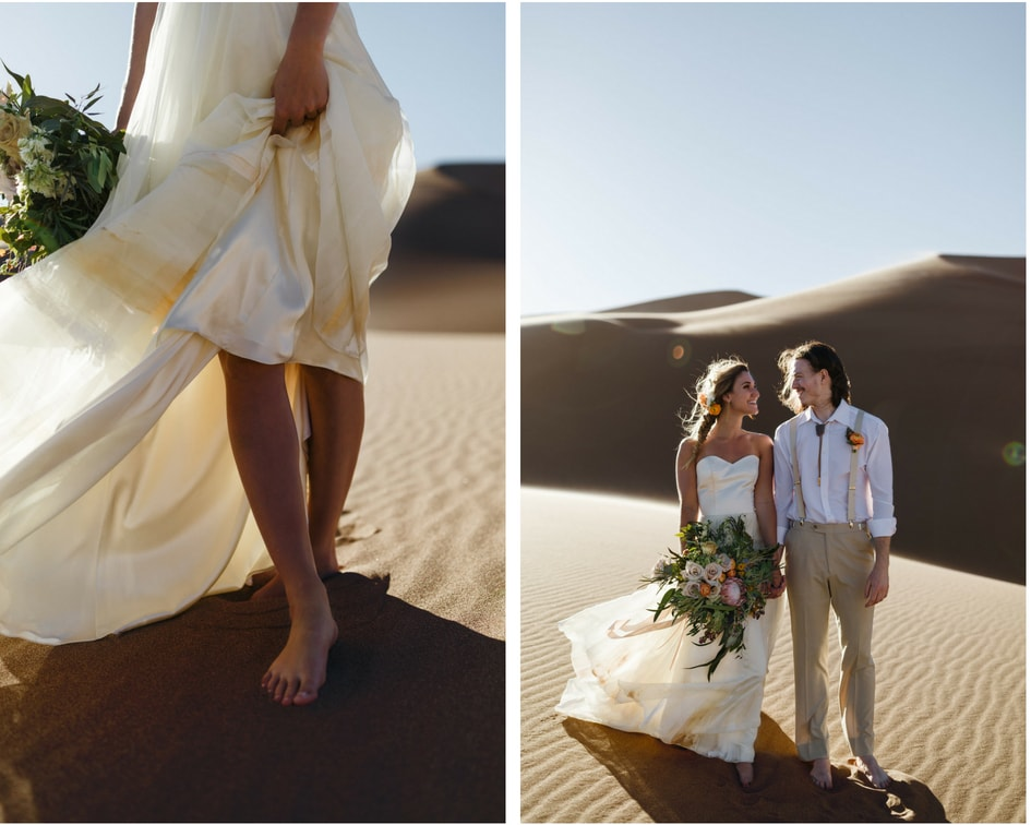 handpainted Chantel Lauren wedding Dress at Colorado sand dunes