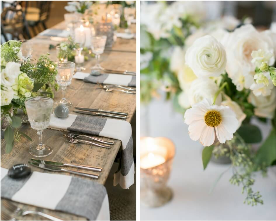 grey and ivory wedding details