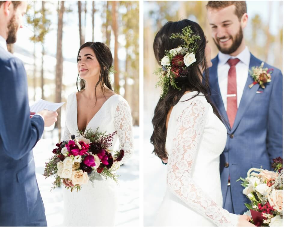 Colorado mountain wedding with long sleeve lace wedding dress