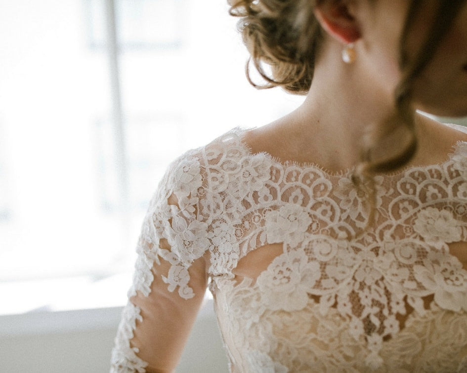 Denver bride with custom lace topper