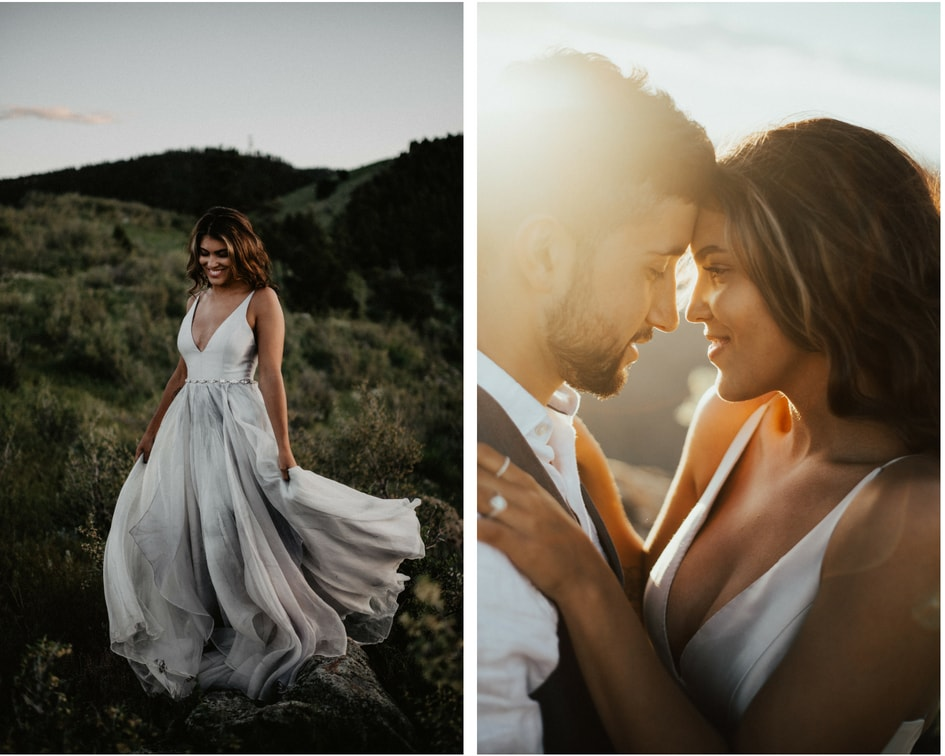 leanne Marshall wedding dress for Colorado mountain wedding