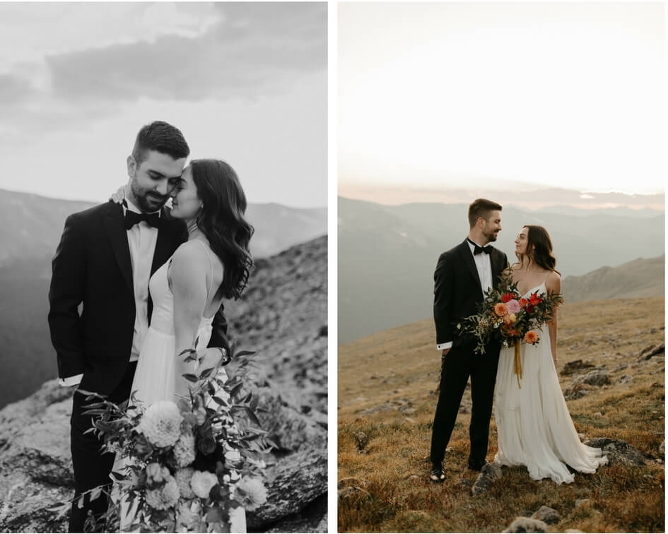 Colorado mountain wedding with leanne Marshall wedding gown