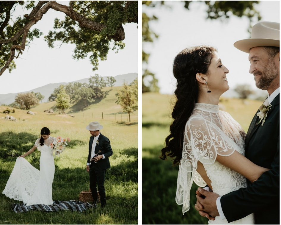 bride and groom picnic on central coast of California