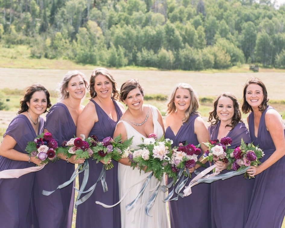 Steamboat Springs mountain wedding with bridesmaids