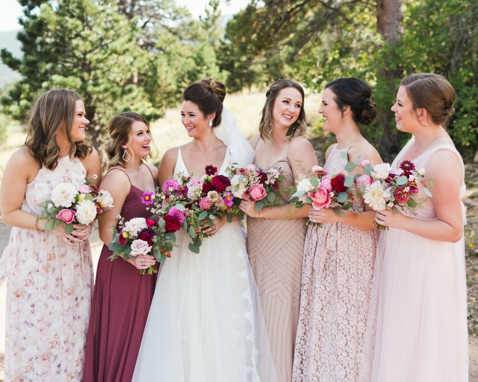 blush bridesmaid dresses with leanne marshall wedding dress
