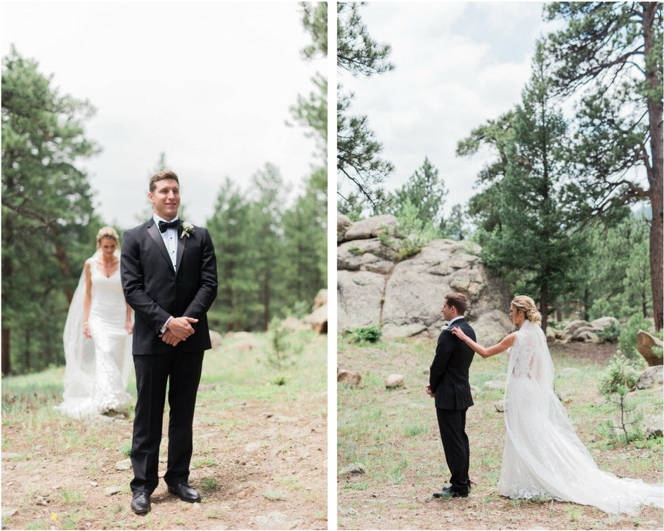 first look for Denver bride and groom