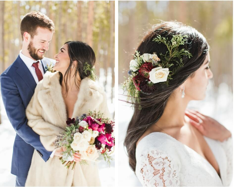 Colorado winter wedding with long sleeve lace wedding dress