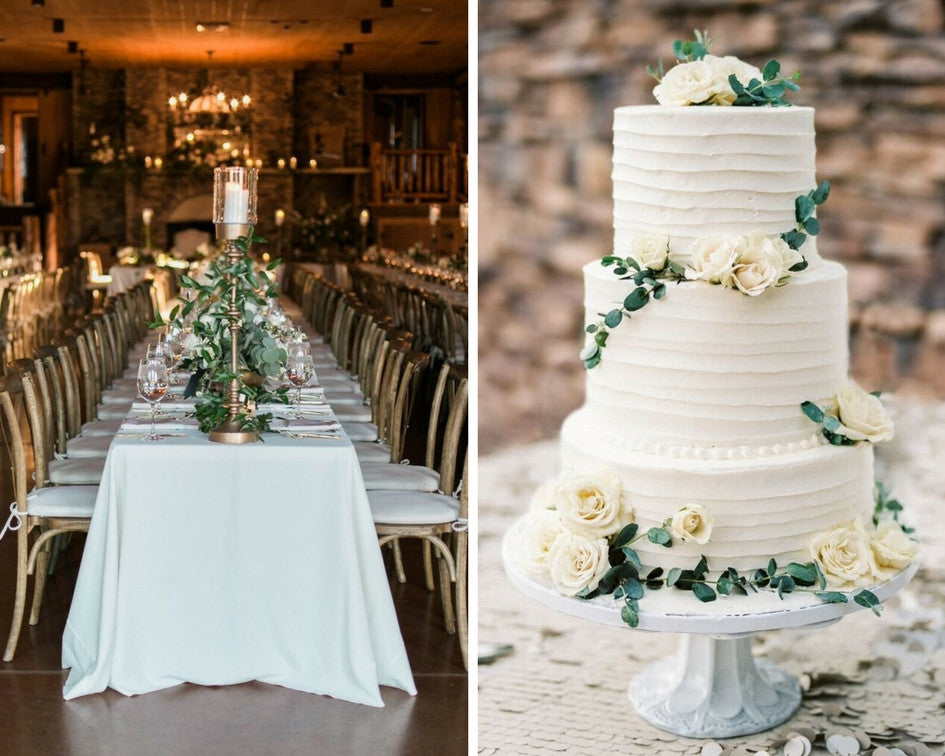 wedding venue details with wedding cake