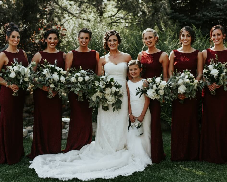 256b10e5571 Their rustic and whimsical day featured a neutral color palette with burgundy  bridesmaid dresses