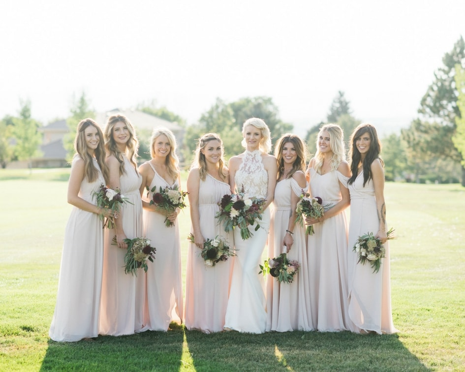 blush bridesmaid dresses for Colorado wedding