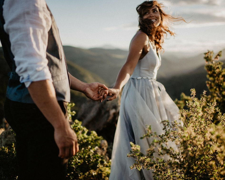 leanne Marshall bridal dress for Colorado mountain wedding