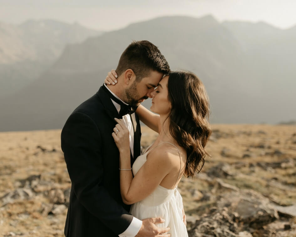 Colorado mountain elopement with leanne Marshall wedding dress