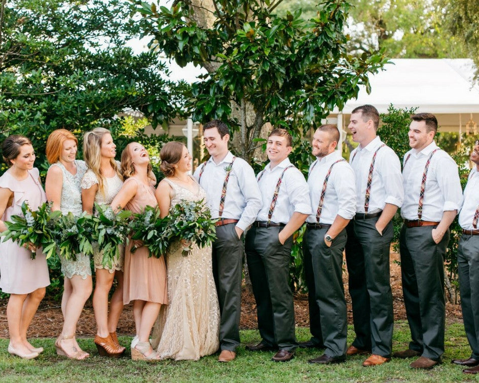 Bridal party with bride and groom