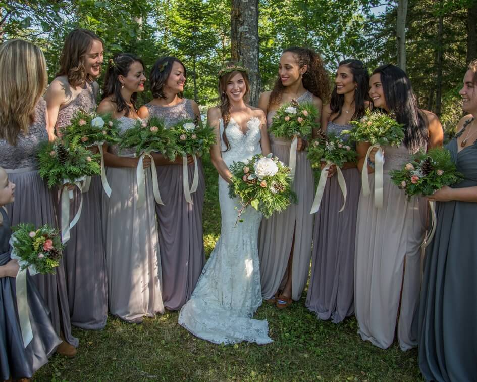 Minnesota wedding with grey bridesmaid dresses