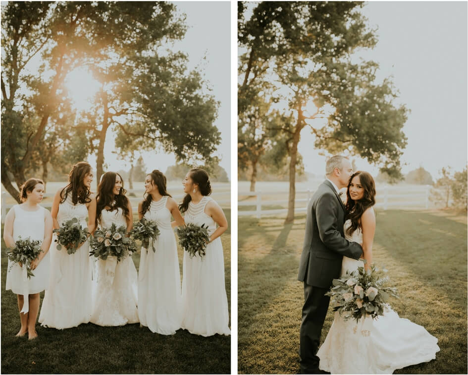 denver bride and groom with bridesmaids
