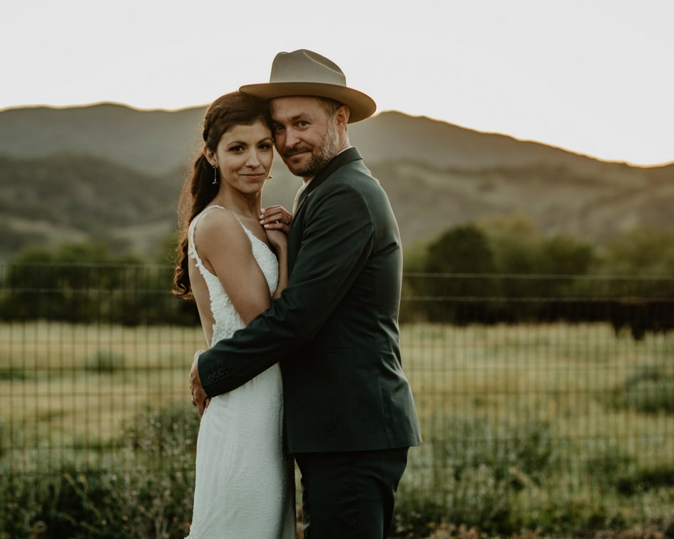 simple lace wedding dress for California wedding