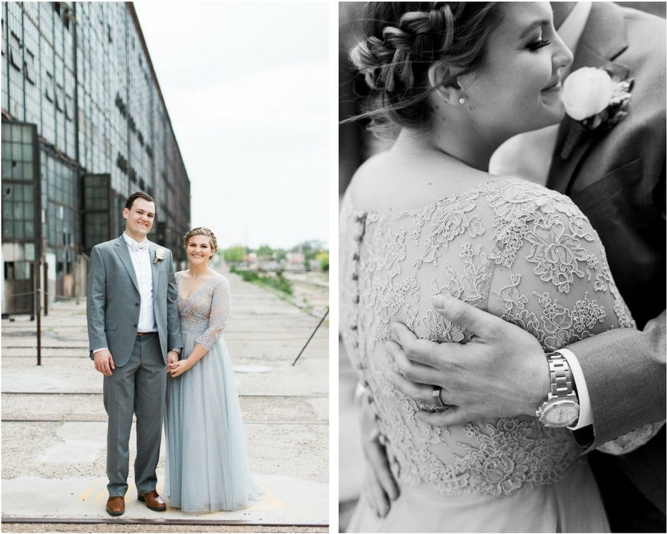 lace grey bridal gown