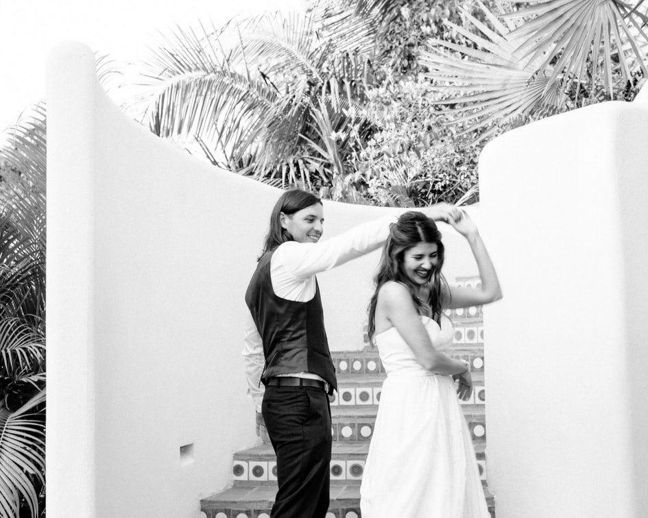 mexico wedding with leanne Marshall two piece dress