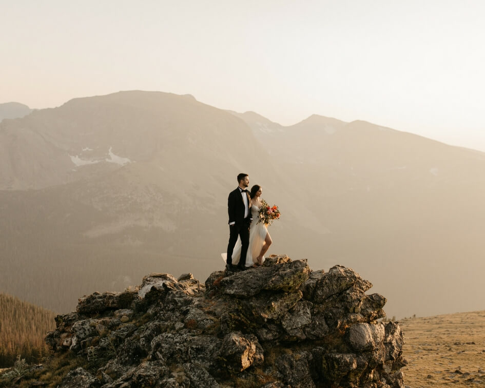 Colorado mountain elopement with leanne Marshall wedding gown