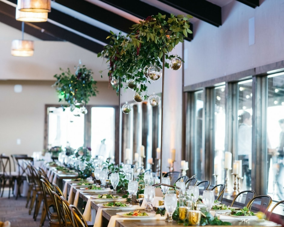 greenery wedding reception details