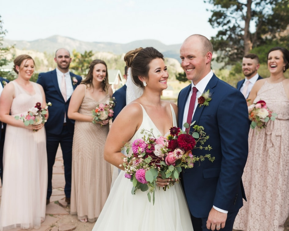 mountain bride in leanne marshall wedding dress