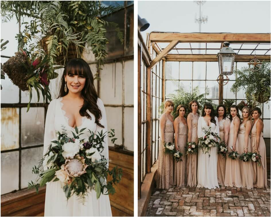 new Orleans wedding with neutral bridesmaid dresses